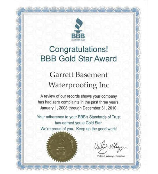 Gold Star Award from the Better Business Bureau, awarded to Garrett Basement Waterproofing, Inc for zero consumer complaints 2008-2010