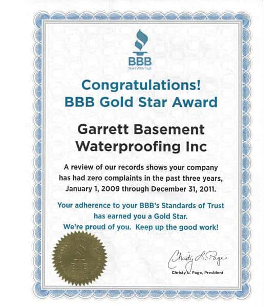 Gold Star Award from the Better Business Bureau, awarded to Garrett Basement Waterproofing, Inc for zero consumer complaints 2009-2011