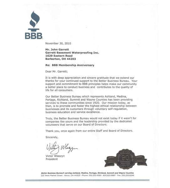 BBB Thank you letter for membership addressed to Garrett Basement Waterproofing, Inc