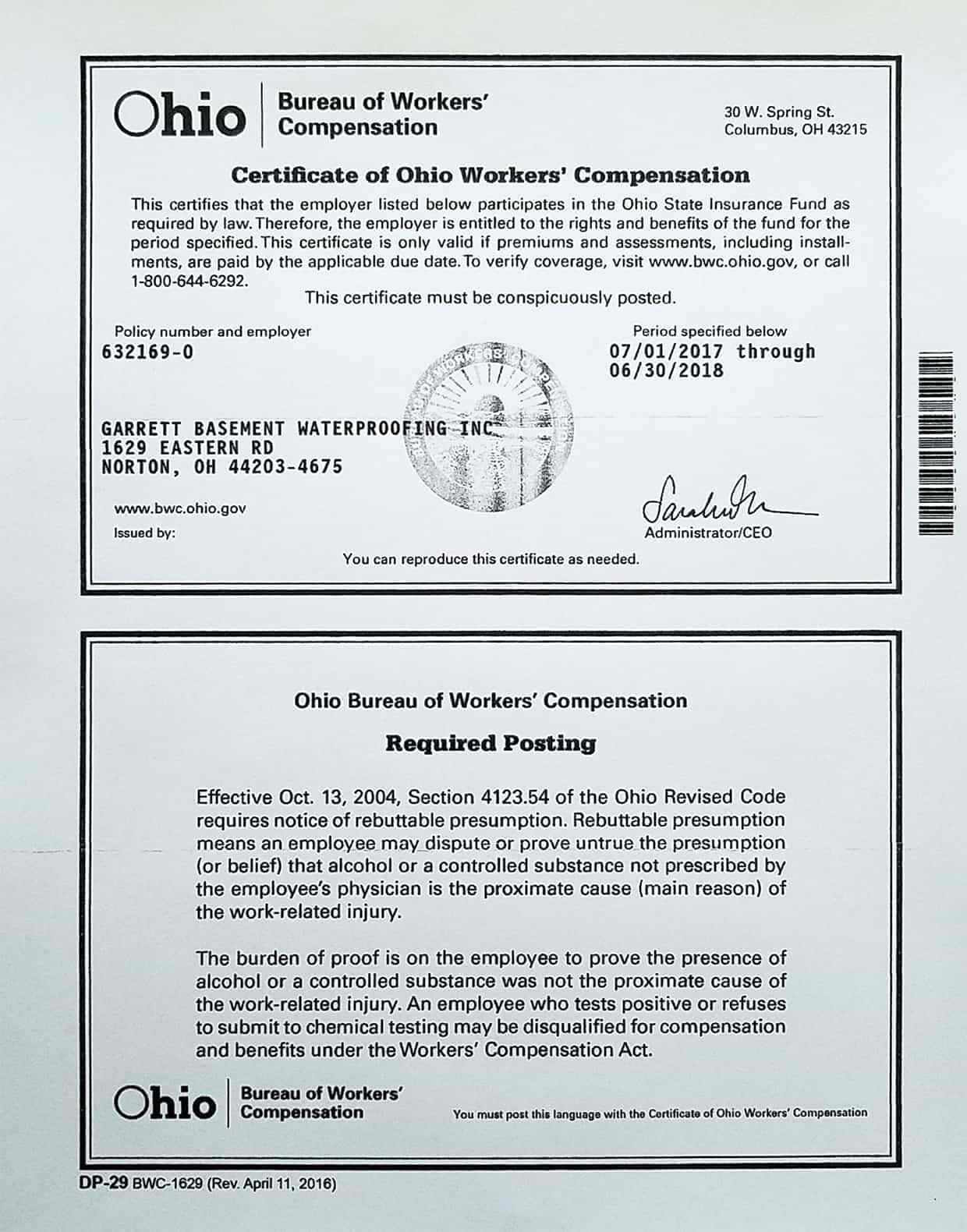 Certificate for Ohio Workers' Compensation