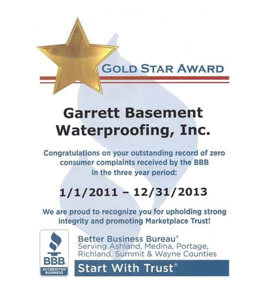 Gold Star Award from the Better Business Bureau, awarded to Garrett Basement Waterproofing, Inc for zero consumer complaints 2011 to 2013