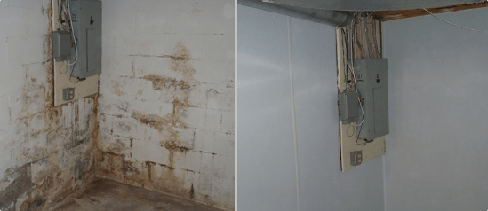 Moldy Basement before and after in Akron, Ohio