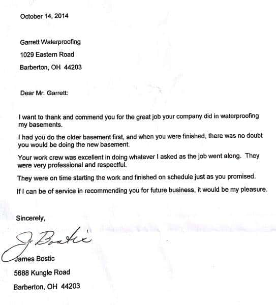 Thank you note from a customer to Garrett Basement Waterproofing, Inc. for a job well done