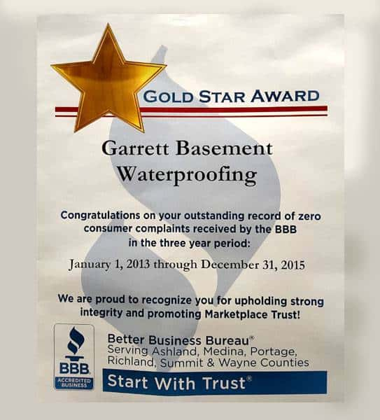Gold Star Award from the Better Business Bureau, awarded to Garrett Basement Waterproofing, Inc for zero consumer complaints 2013 to 2015