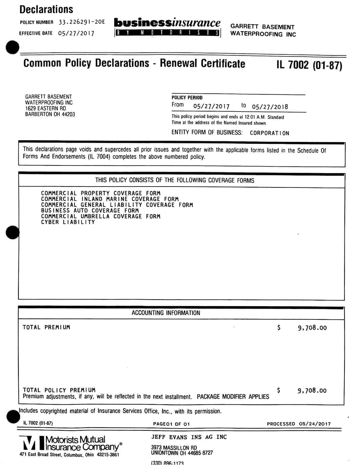 Common Policy Declarations- Renewal Certificate